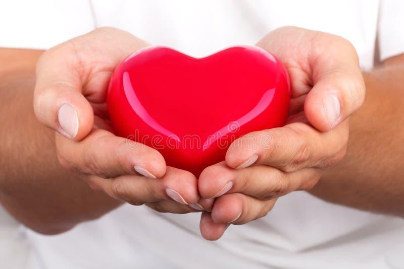 Manhänder som ger röd hjärta arkivbild