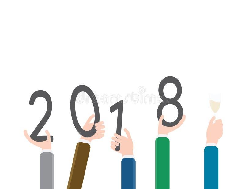 Manhänder som rymmer 2018 nummer för NYTT ÅR vektor illustrationer
