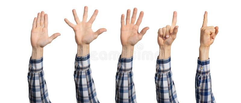 Manh?nder som visar olika gester arkivbilder
