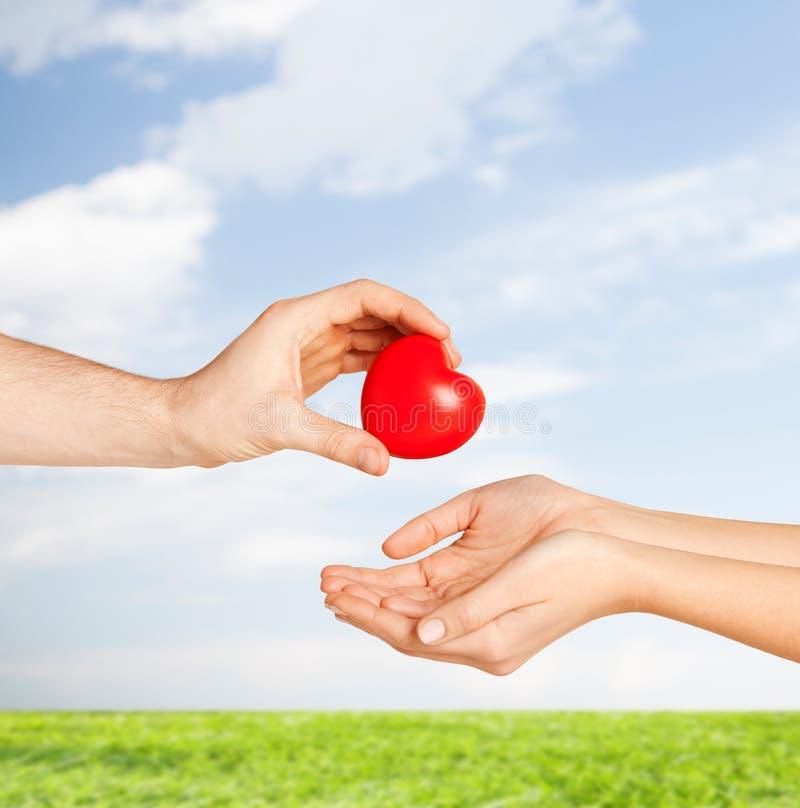 Manhand som ger röd hjärta till kvinnan arkivfoton