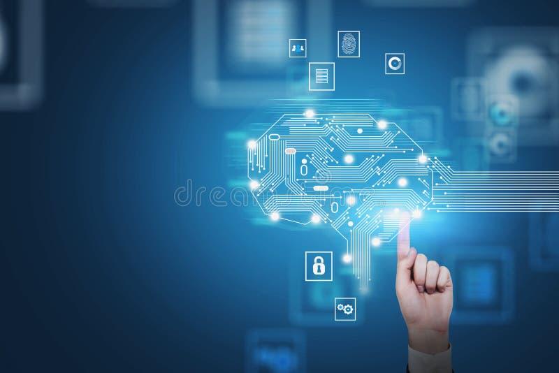 Manhand som trycker på AI-hjärnhologrammet royaltyfria foton