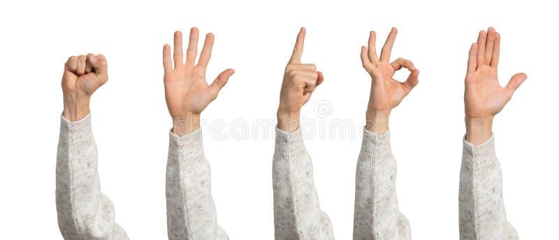 Manhand som visar olika gester arkivfoton