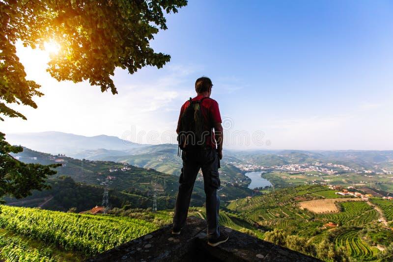 Manhandelsresanden står på förbise för klippa av floden, vingårdarna är på en kulleDouro dal royaltyfri fotografi