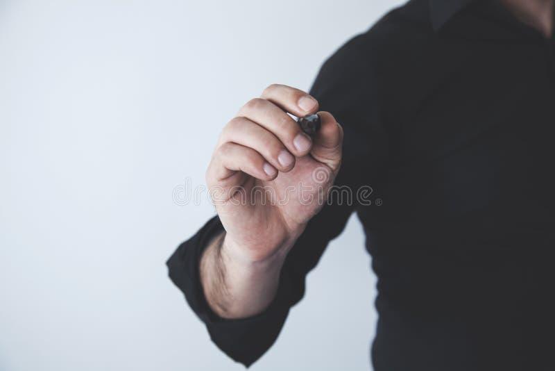 Manhandpenna i skärm arkivbild