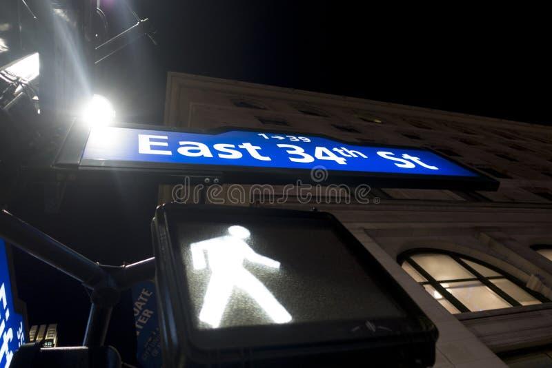Manhattan aangestoken blauw en witte straattekens royalty-vrije stock fotografie