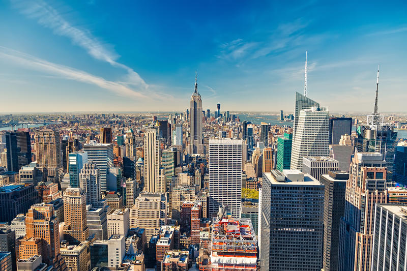 Download Manhattan aerial view stock image. Image of industrial - 33685695