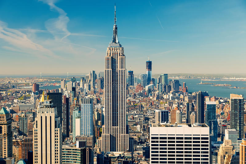 Download Manhattan aerial view stock photo. Image of landmark - 41881558