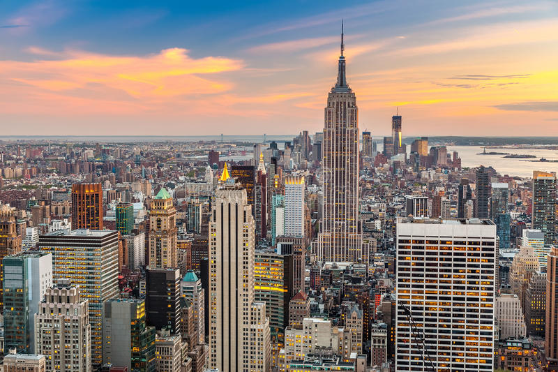 Download Manhattan aerial view stock photo. Image of scene, building - 42957134