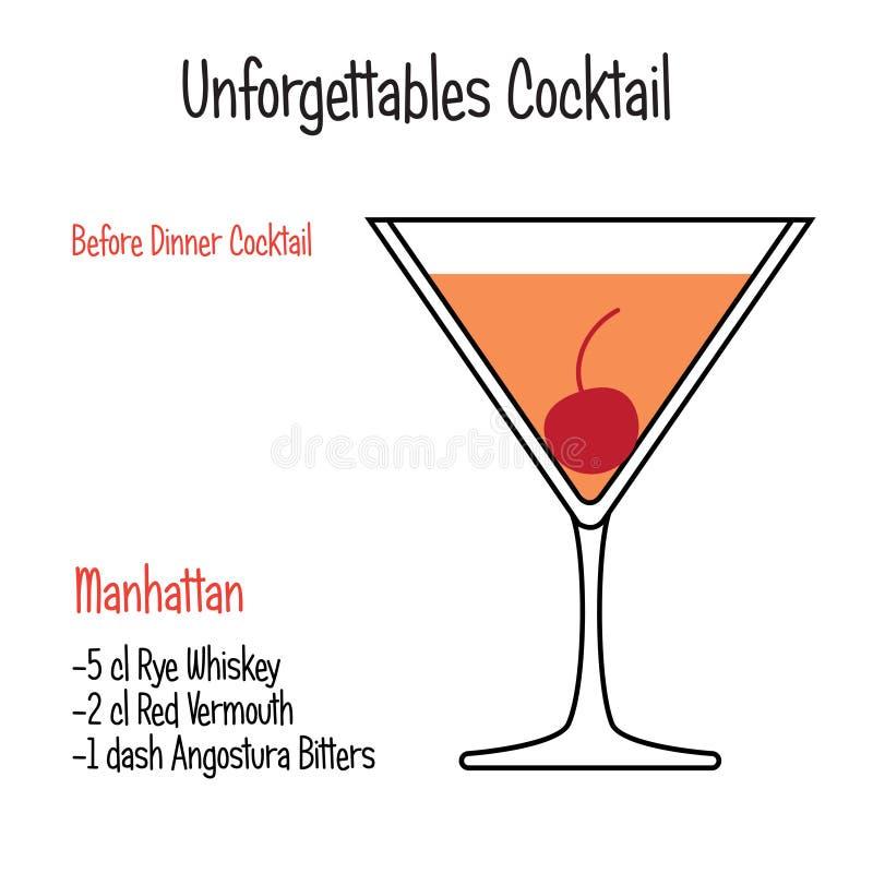 Manhattan alcoholic cocktail vector illustration recipe isolated stock illustration