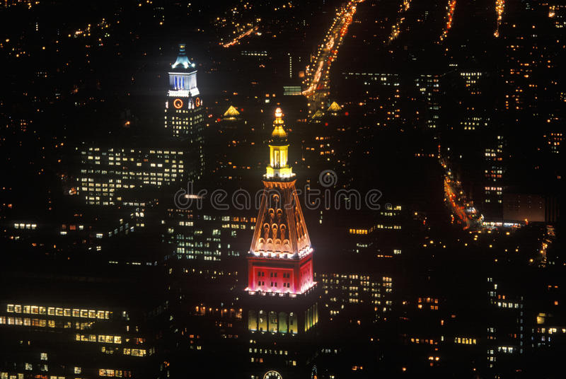 Manhattan alla notte dall'Empire State Building, New York, NY fotografia stock
