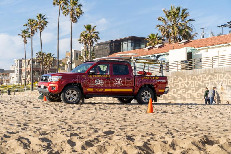 Los Angeles County Fire Department Toyota truck for the lifeguard is parked on the royalty free stock photos