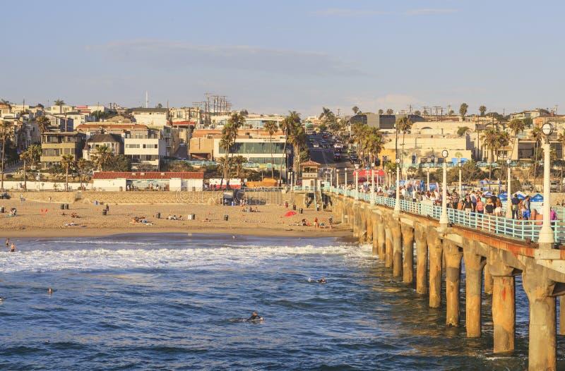 Manhattan Beach pir, Kalifornien, USA arkivbilder