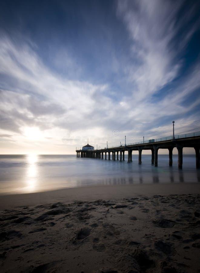 Manhattan Beach Sunset Long Exposure Stock Photo