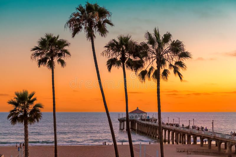 Manhattan Beach at sunset in Los Angeles, California. Palm trees and Pier on Manhattan Beach at sunset in California, Los Angeles, USA. Fashion travel and stock photo