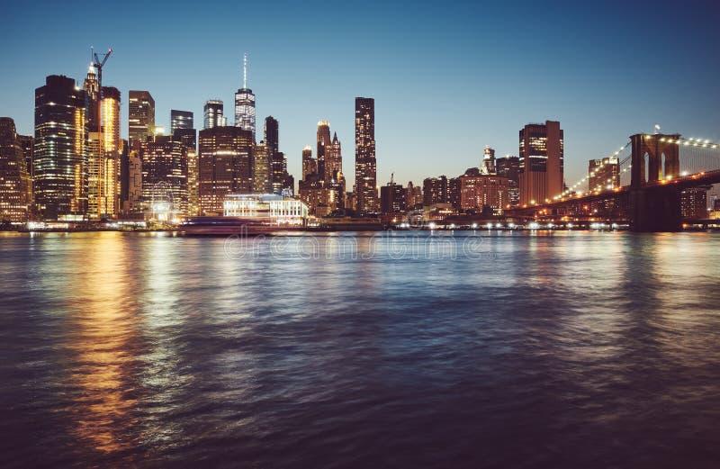 Manhattan bij blauw uur, New York royalty-vrije stock afbeelding
