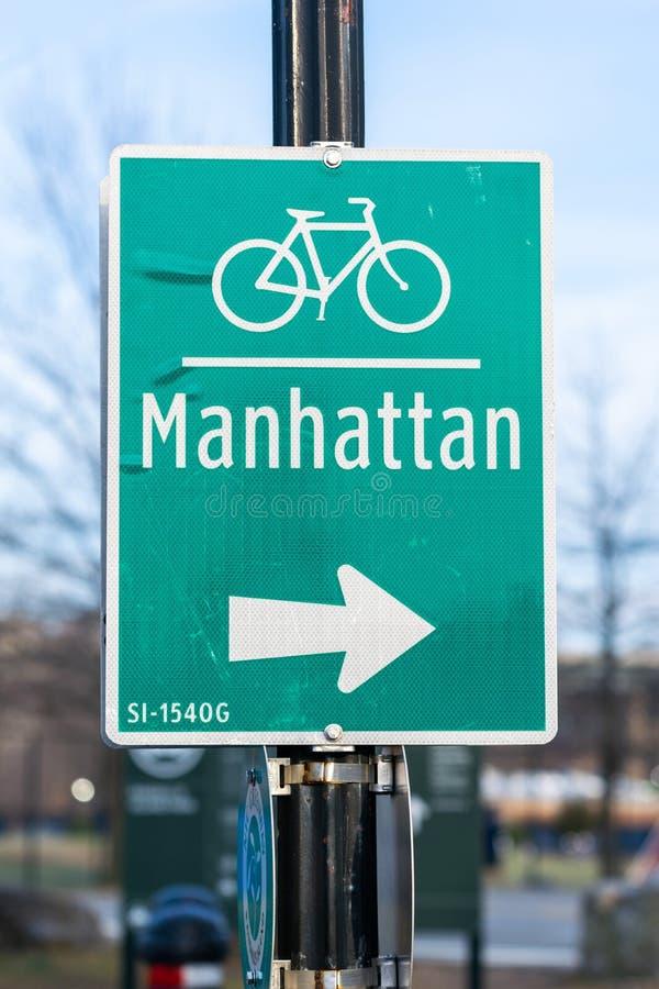 Manhattan bike lane, street sign - New York City, USA stock image
