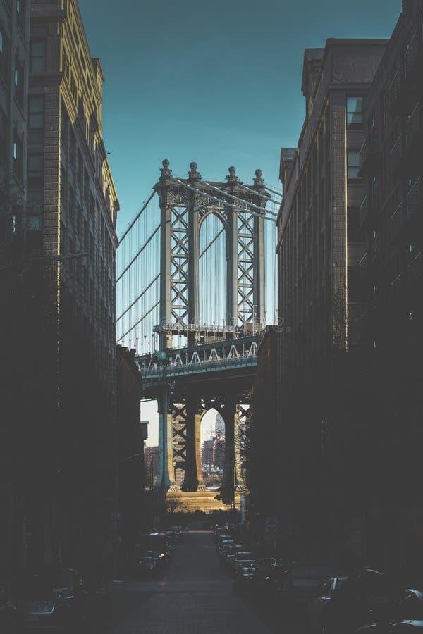 Manhattan-Brücke morgens stockfoto