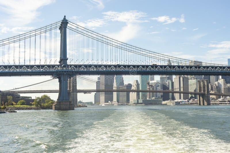 Manhattan-Brücke in Stadt Front Of Lower Manhattan News York stockfoto