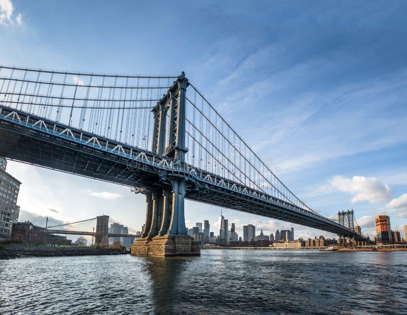 Manhattan Bridge with Brooklyn Bridge and Manhattan Skyline as background - New York, USA stock images
