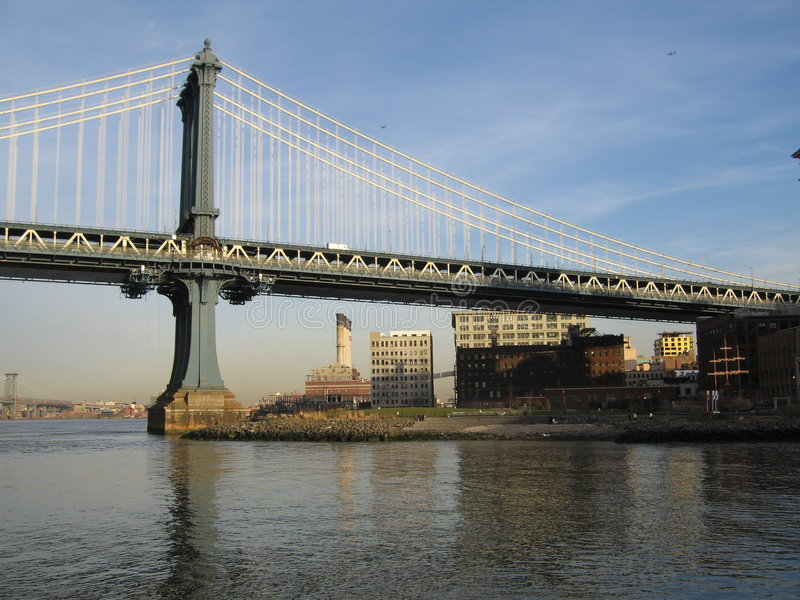 Manhattan bridge, brooklyn, nyc. Manhattan bridge and east river as seen from brooklyn side, nyc stock images