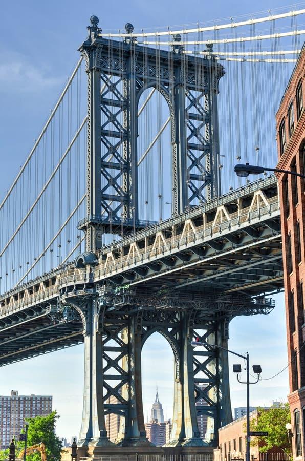 Manhattan Bridge from DUMBO, Brooklyn. Manhattan Bridge from DUMBO (Down Under Manhattan Bridge Overpass), Brooklyn, New York royalty free stock photos