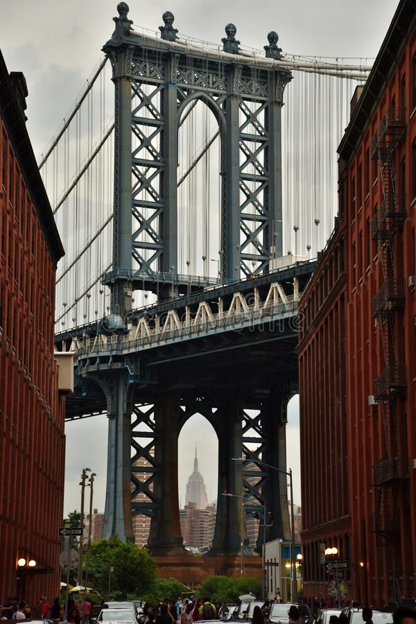Manhattan Bridge from DUMBO. Brooklyn, USA - July 1, 2017: The Manhattan Bridge from the DUMBO Down Under the Manhattan Bridge Overpass neighborhood of Brooklyn stock photos