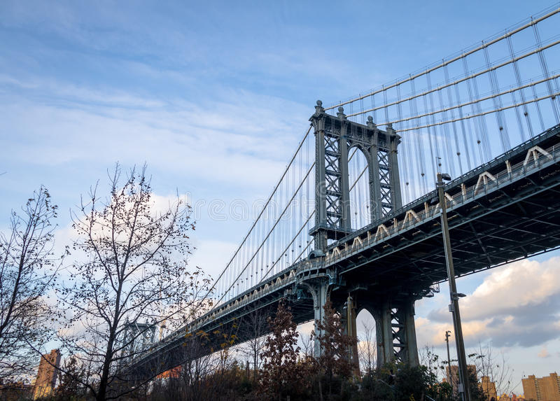 Manhattan Bridge and Manhattan Skyline seen from Dumbo in Brooklyn - New York, USA. Manhattan Bridge and Manhattan Skyline seen from Dumbo in Brooklyn in New stock photos