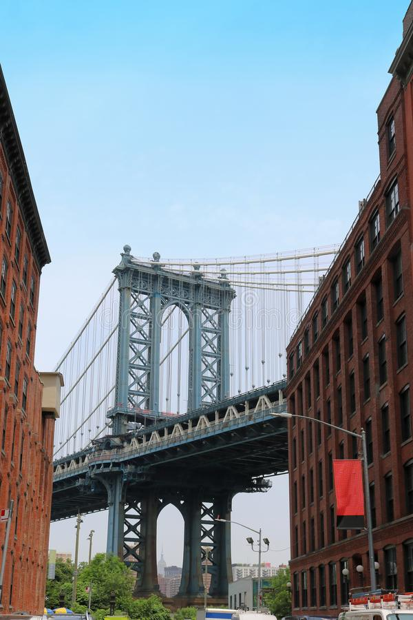 Manhattan bridge in New York. Famous Manhattan bridge in New York with old architecture shot from Brooklyn DUMBO neighborhood in New York stock images