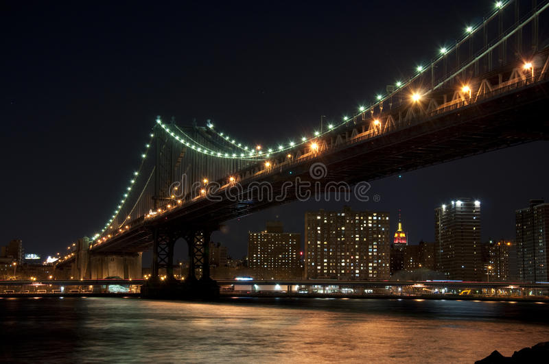 Manhattan bridge at night stock image. image of metropolis 17207055
