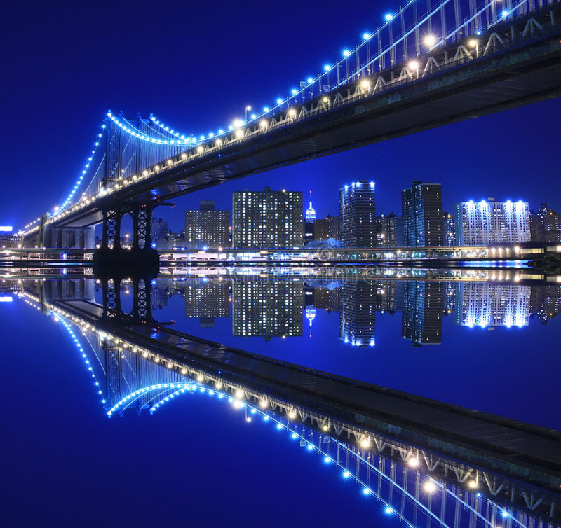 Download Manhattan Bridge At Night stock photo. Image of evening - 2390024