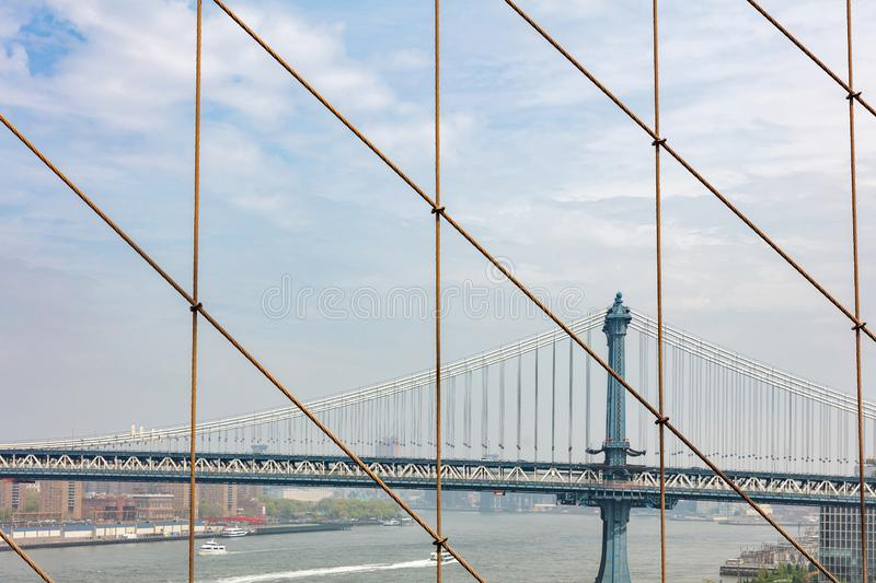 Manhattan Bridge over East river, New York city, view from Brooklyn bridge stock images