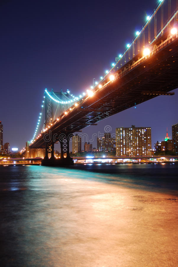 Manhattan Bridge Over Hudson River Stock Photos