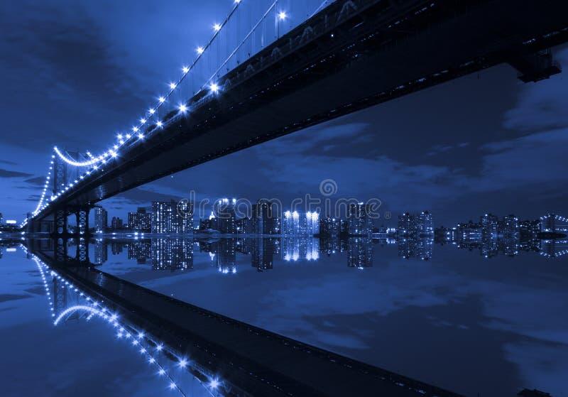 Manhattan Bridge and reflection stock photo