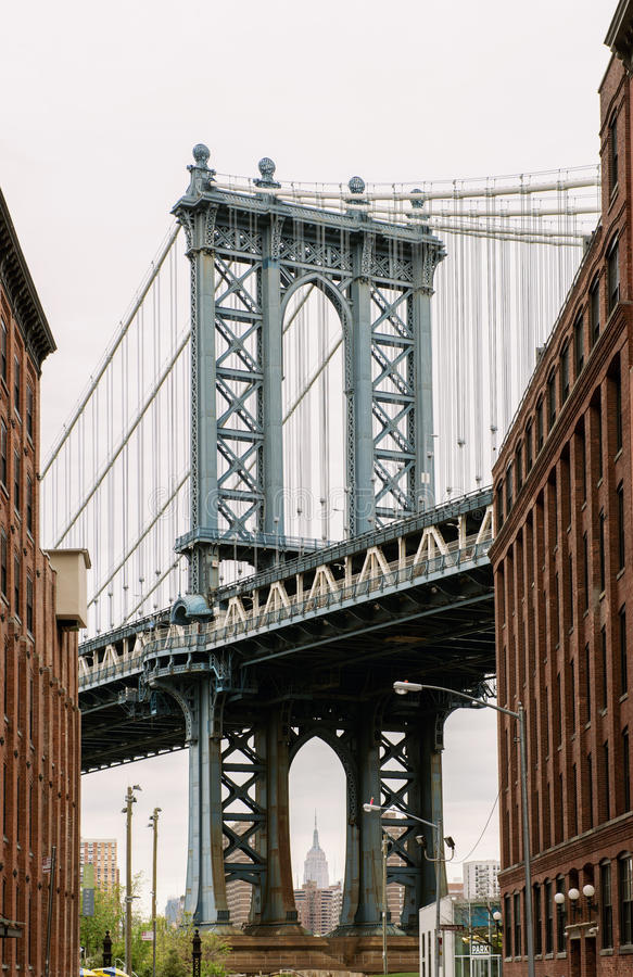 Manhattan Bridge seen from Dumbo, Brooklyn, New York City royalty free stock image