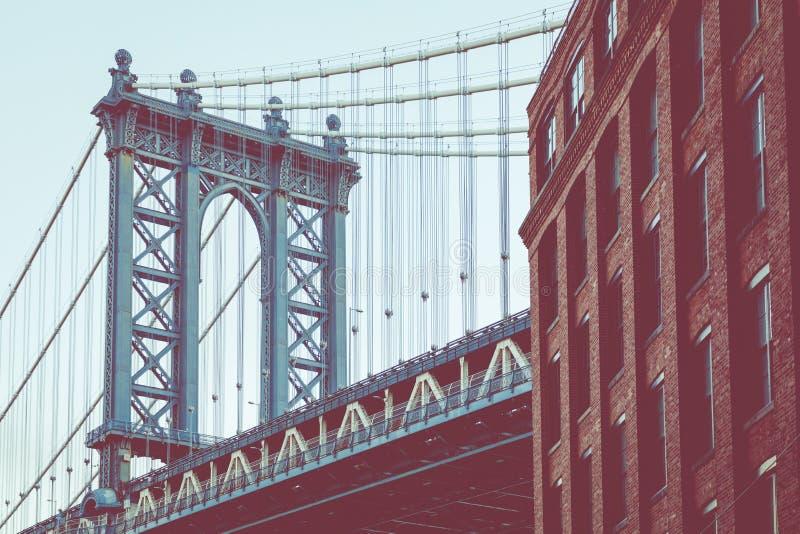 Manhattan Bridge seen from Dumbo, Brooklyn, New York City, USA. stock photography