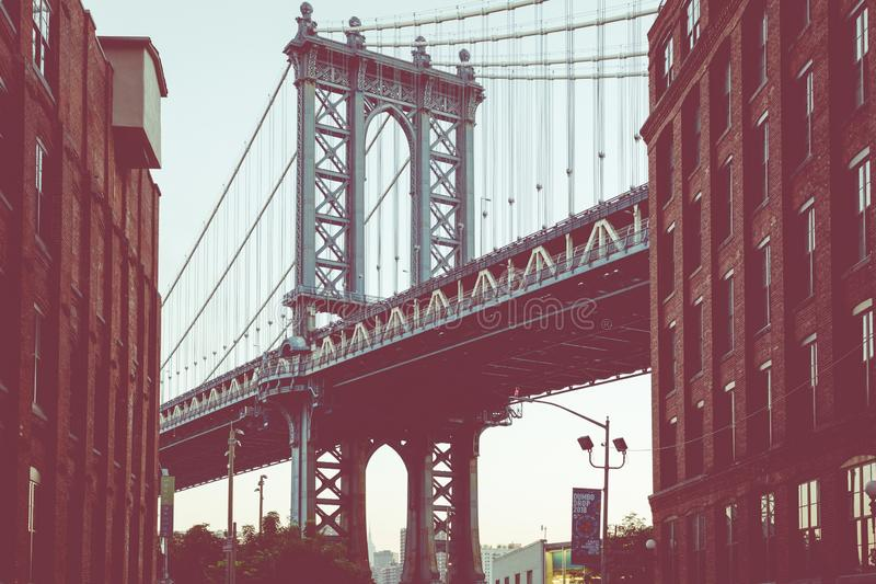 Manhattan Bridge seen from Dumbo, Brooklyn, New York City, USA. royalty free stock images