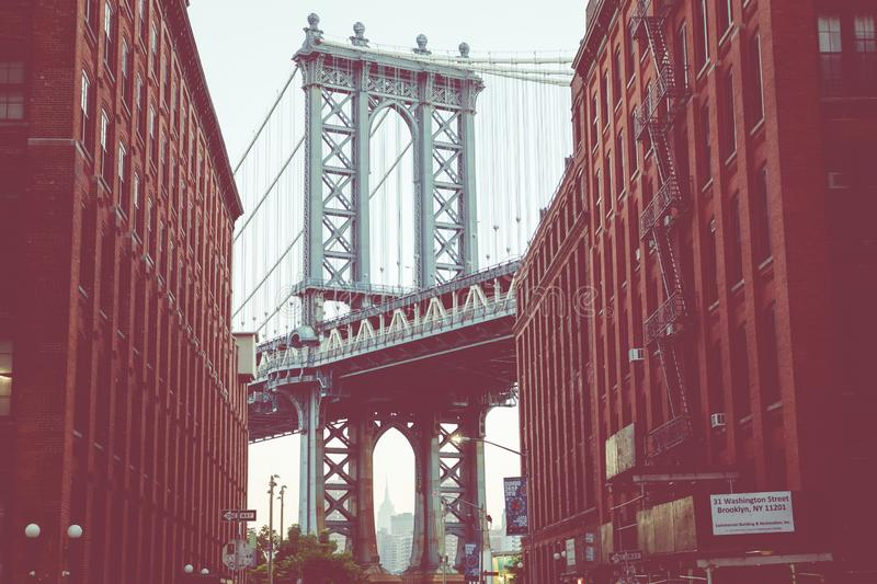Manhattan Bridge seen from Dumbo, Brooklyn, New York City, USA. Manhattan Bridge seen from Dumbo, Brooklyn, New York City, USA stock images