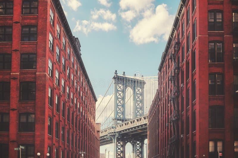 Manhattan Bridge seen from Dumbo, New York City, USA. Color toned picture of Manhattan Bridge seen from Dumbo, New York City, USA stock photography