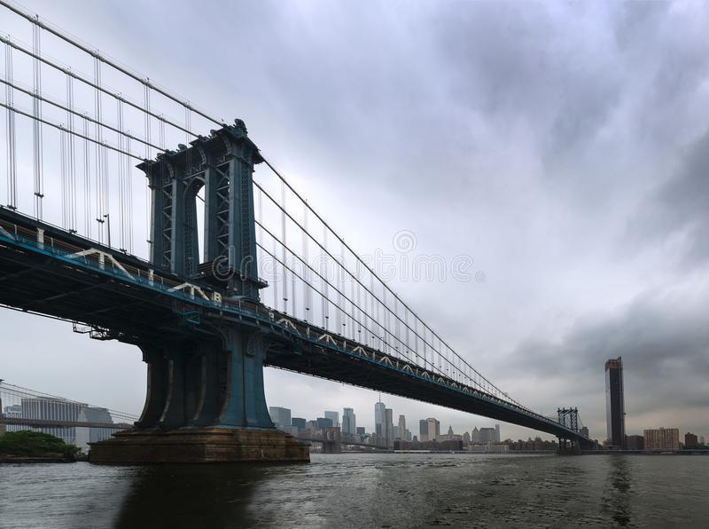 New York - Panorama on the Manhattan Bridge from Brooklyn stock photos