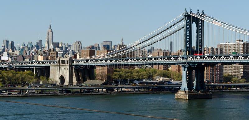 Manhattan Bridge and skyline royalty free stock photos
