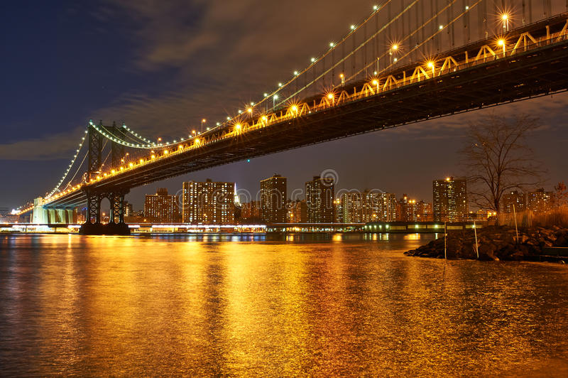 Manhattan Bridge and skyline view from Brooklyn at night royalty free stock photo