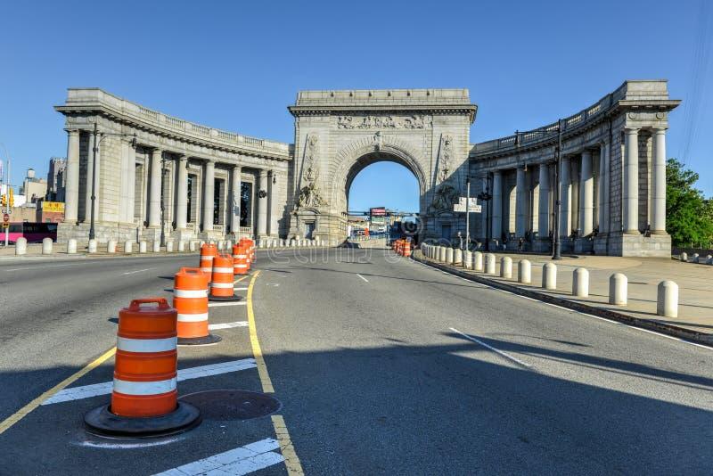 Manhattan Bridge Triumphal Arch stock images
