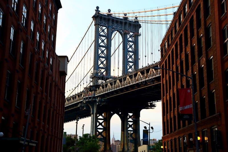 Manhattan Bridge view from Dumbo Brooklyn, Yew York City. USA stock image