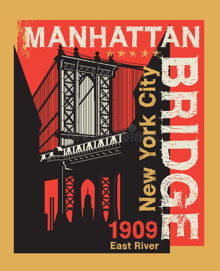 Manhattan bro, New York City, kontur vektor illustrationer