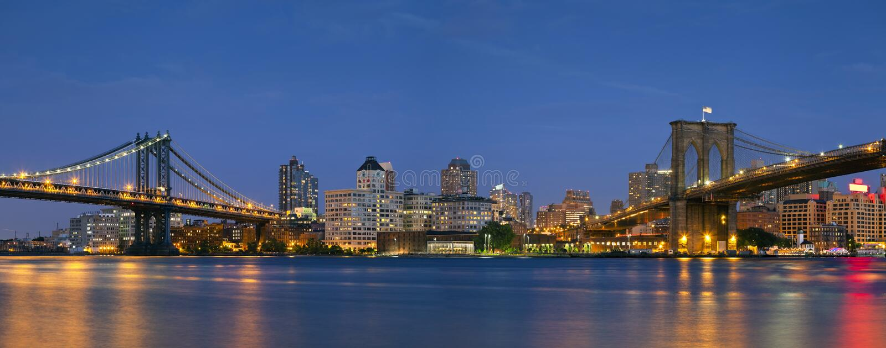 Manhattan & Brooklyn Bridge Panorama. stock image