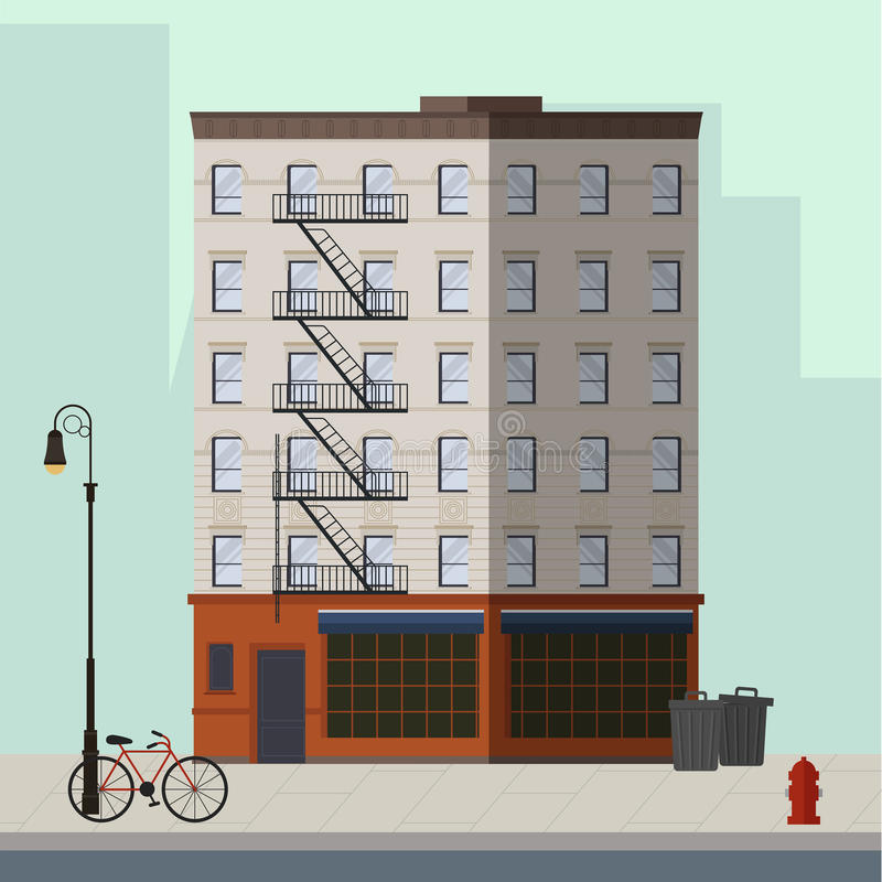 Apartment In Manhattan: Brooklyn Apartment Building. Stock Vector