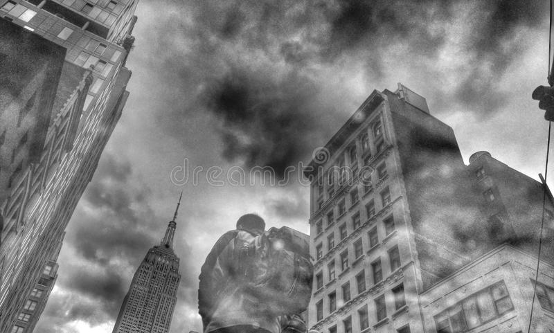 Manhattan buildings from low angle. A black and white photo of Manhattan buildings from a low angle, New York, USA stock images