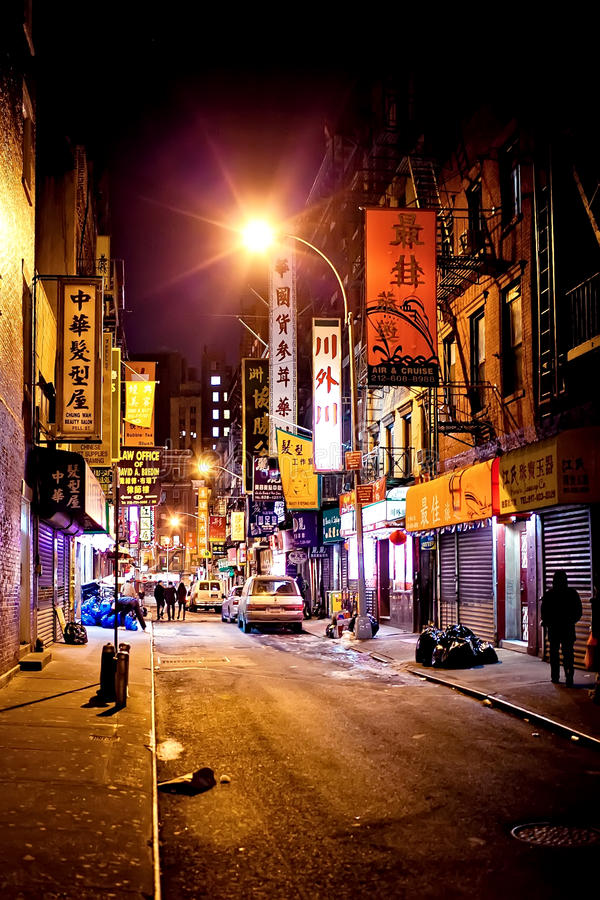 Manhattan Chinatown at night. Manhattan Chinatown, one of the largest and oldest ethnic Chinese communities outside of Asia with population of 90,000 to 100,000 stock photography