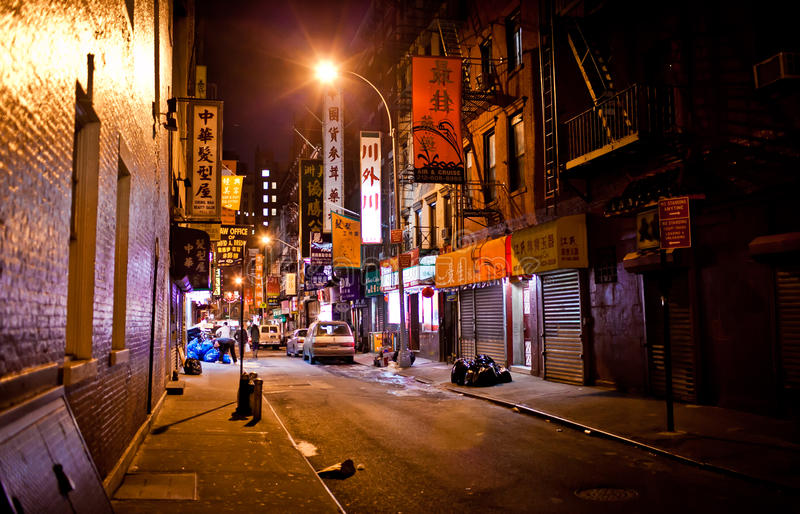 Manhattan Chinatown at night. Manhattan Chinatown, one of the largest and oldest ethnic Chinese communities outside of Asia with population of 90,000 to 100,000 royalty free stock photography