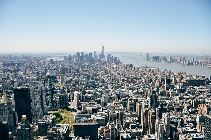 Manhattan city skyline view. royalty free stock image